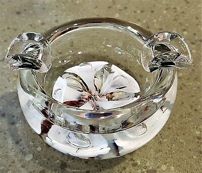 Clair Art Glass Ashtray Trumpet Flowers Hand Blown Paperweight Style Vintage St Art Glass North American