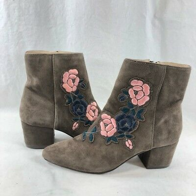 159f4c15fed Steven by Steve Madden Women s Brooker Floral Ankle Boot Grey Suede sz 7.5  M US