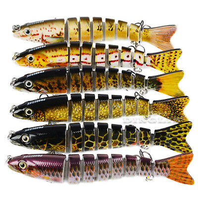 Multi Jointed Crankbait Swimbait Treble Hook Bass Sea Fishing Tackle Lures CHK