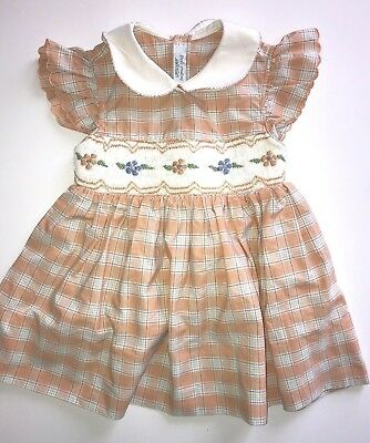 4c5cb4871b2c Lord   Taylor Small Creations Vintage Baby Girl Dress Orange Embroidery 18  Month