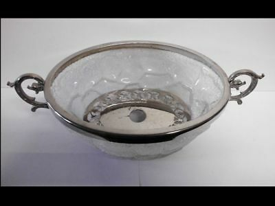 Seltene Krakele-Glas Eisschale-WMF-antique silver plated crushed ice glass bowl