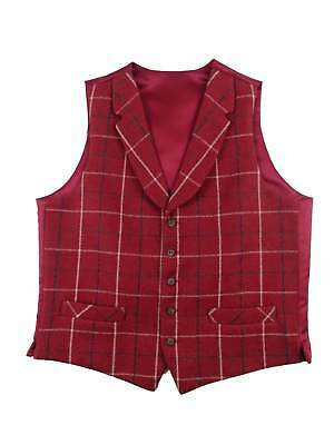 Mens Classic Vintage Style Red Check Tweed Waistcoat With Collar - 1940s | Peaky
