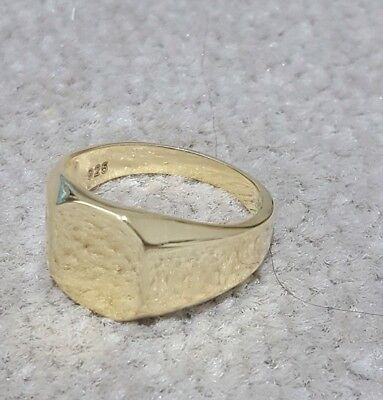 9ct GOLD ON 925 STERLING SILVER Signet Wedding Men's Ring ''Size All Avaible ''