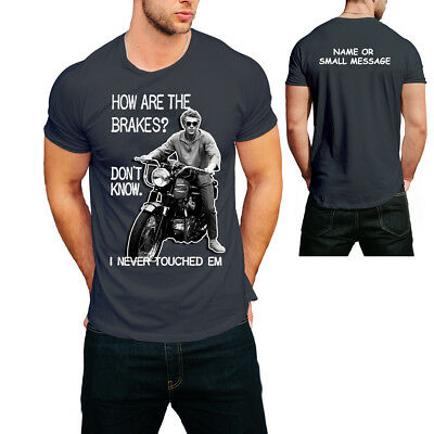 Steve McQueen How are the breaks Mens  T shirt Classic Motorcycle
