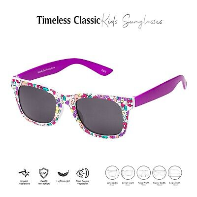 Purple Floral Kids Childrens Sunglasses Girls Classic Shades Fashion Glasses UK