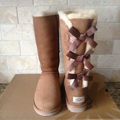 5c541ffe8df UGG TALL TRIPLE Triplet Bailey Bow Chestnut Suede Boots Size US 13 ...