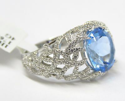 #R6382S 1.68ct  Oval Swiss Blue Helenite Regular Solid 925 Sterling Silver Ring