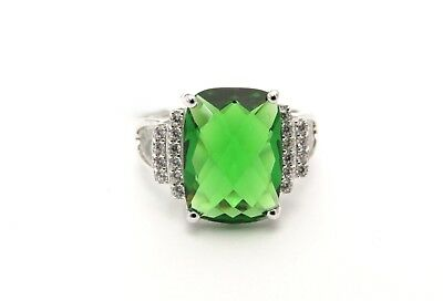 #R4933S 5ct Ruby Red or Forest Green Helenite Cushion Cut Sterling Silver Ring