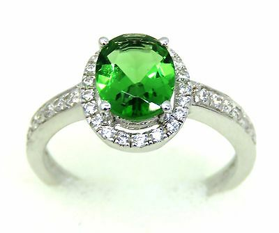 #388 1ct. Forest Green Helenite Halo Oval Sterling Silver Ring