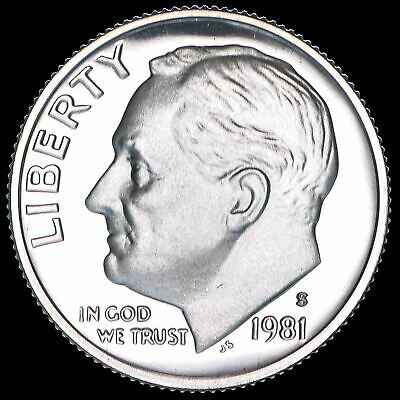 1981 S Roosevelt Dime Gem Deep Cameo CN Clad PROOF US Mint Coin Beautiful!