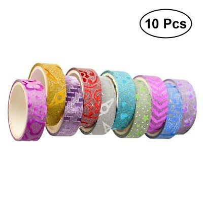 10XDIY Glitter Washi Sticker Decor Roll Paper Masking Adhesive Tape Crafts Gifts