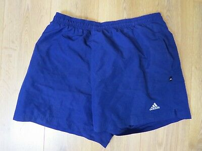 Vintage retro Adidas lined blue soccer football sports swim shorts size XL 40""