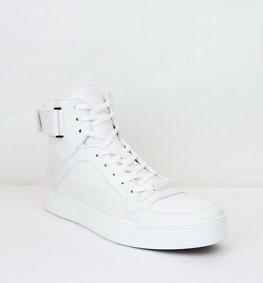GUCCI 386738 GG Men\u0027s High Top White Leather Sneakers Shoes