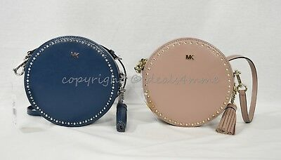 35166a918e41 Michael Kors Studded Leather Canteen Crossbody / Shoulder Bag in Luxe Teal  /Fawn