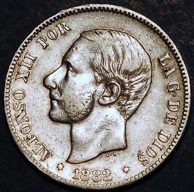2 Pesetas 1882 MS M Alfonso XII Spain silver coin