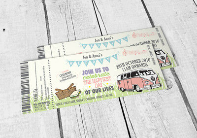 40 Pastel Bunting Wedding Wedfest Camper Van Ticket Wedding Invitations!