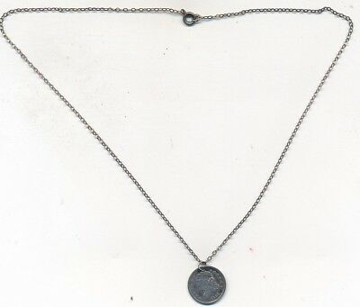 """1836 Capped Bust Silver Half Dime On Sterling Silver Chain (16"""")-Nice! Free Ship"""