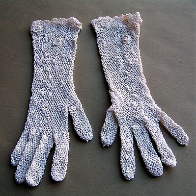 Antique / Vintage Child's or Small Woman's Irish Crochet Gloves