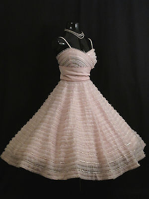 Vintage 50's 50s Rappi Pink Taffeta Tulle Sequins Party PROM Wedding DRESS
