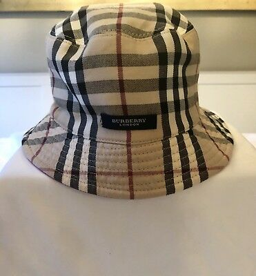 27bde55cd41 Authentic Burberry Reversable Bucket Hat Pink Leather Nova Check Women S  Youth L