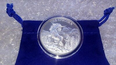 1 oz Fine Silver .999 Unicorn Forklore High Relief Round w/ Capsule & Coin Pouch