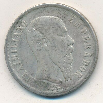 1866 Mexico Silver One Peso-Emperador Maximiliano-Nice Circulated Coin-Free S/h!