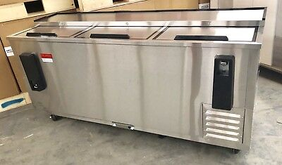 "Back Bar Bottle Beer Cooler NEW Stainless 80""   Refrigerator 6' Slide Top 3 Door"