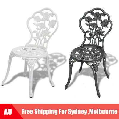 2 pcs Bistro Chairs Outdoor Dining Chairs Cast Aluminium Green/White AU I8W7