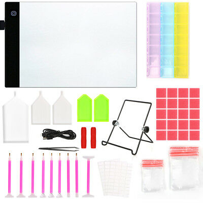 93pcs/set 5D DIY Diamond Painting Tool Kit LED Light Board A4 Table Drawing Pad