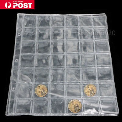 10 x 42 Pockets Coin Holders Folder Pages Sheets For Collection Album Storage