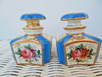 Antique Pair 2 SEVRES Porcelain Perfume Bottles Hand Painted French Blue Marked