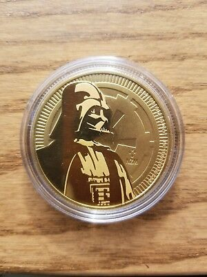 Gold Gilded 2017 999 Fine Silver 1 oz Vader bullion coin Star Wars in capsule