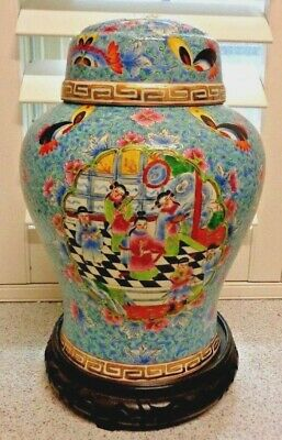 Quality14 X 8  Inches Porcelain Chinese Hand Painted Ceromonial LARGE Ginger Jar