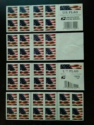 LOT OF 5 IMPERFECT USPS FOREVER Postage Stamps of 'US FLAG' -20 CT-FREE SHIP!