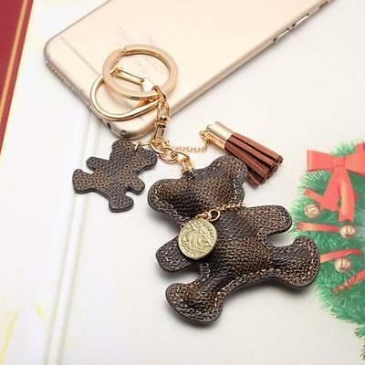 Womens Purse Handbag Key Phone Chain Leather Cute Bear Tassel Style Keyring  _^