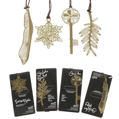 Gold-plated Key / Feather / Palm Tree / Snowflake Metal Bookmark 5 Pcs/Lot