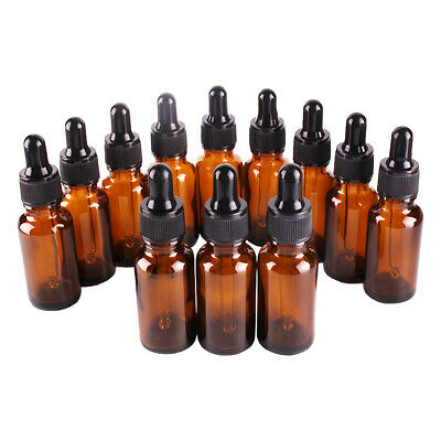 1/5/10 20ML Amber Glass Liquid Dropper Reagent Eye Pipette Essential Oils Bottle