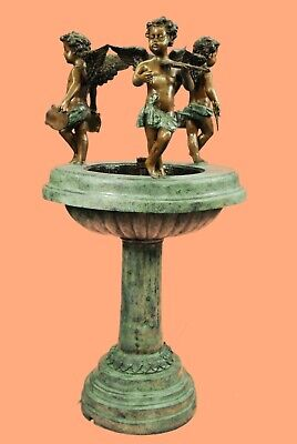 "Vintage Figural Cherub Bronze Outdoor Garden Fountain,Large 49"" Inches In Height"