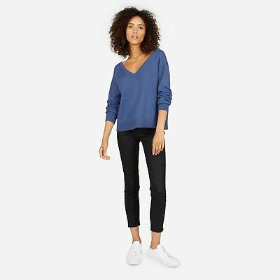 2d3abdab757 NEW EVERLANE THE Cotton Long-Sleeve V-Neck Crop in Blue - Size M ...