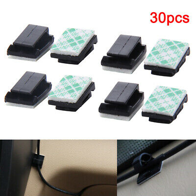 30PCS Car Wire Clips Self-Adhesive Tie Cable Cord Holder Rectangle Mount Clamp