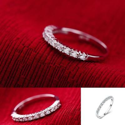 Eternity Stainless Steel Ring Silver Color Single Row small CZ Women's Size7-10