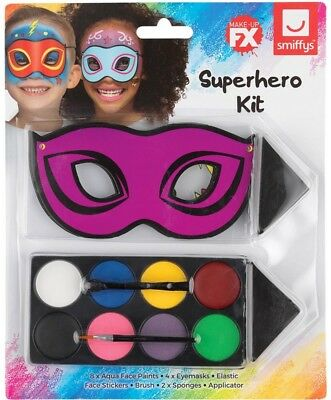 Childs Superhero Fancy Dress Make Up Set Book Day Face Paint Kit by Smiffys