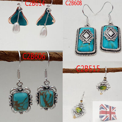 Fashion 1 Pair Charm Women Green Tibet Silver Plated Stone Earrings Jewelry Gift