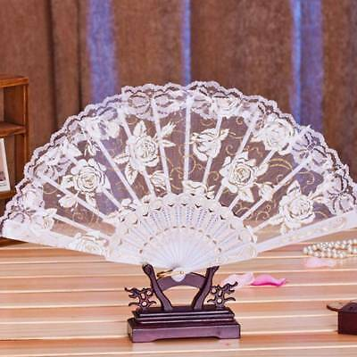 FOLDING HAND FAN Wedding Guest Gift Floral Print Lace Fans Dancing  Decoration