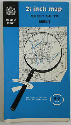 1961 old vintage OS Ordnance Survey 1:25000 First Series map SO 73 Ledbury
