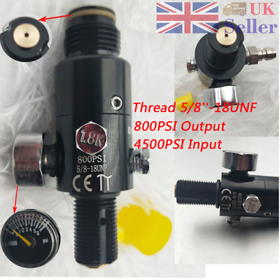 5/8''-18UNF Thread Paintball Valve Regulator 4500psi HPA Air Tank Output 800psi