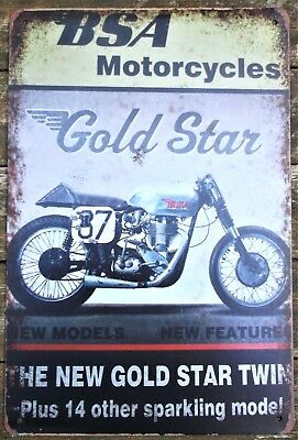 BSA metal tin sign vintage cafe pub motorcycle retro plaque garage kitchen