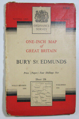 Old 1954 OS Ordnance Survey One-inch Seventh Series Map 136 Bury St Edmunds