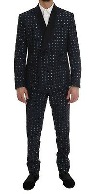 NEW $4000 DOLCE & GABBANA Suit Blue Silk Double Breasted 3 Piece EU54 / US44 /XL