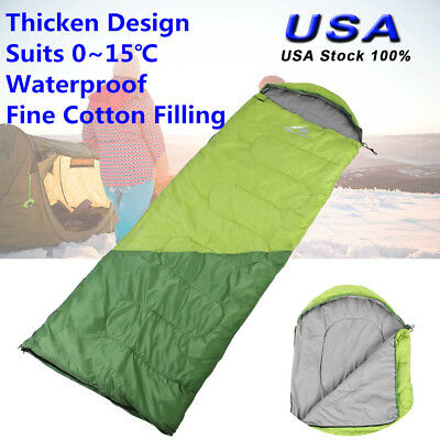 Single Envelope Sleeping Bag Ultralight Cold Weather Warmer 0~15℃ Camping Hiking